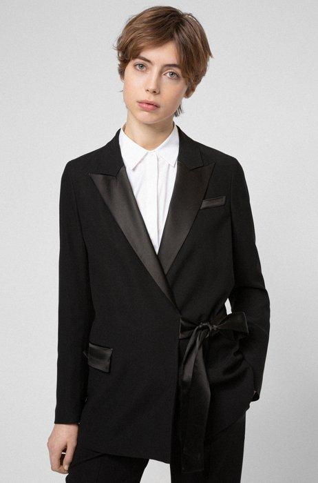 Veste Regular Fit en crêpe avec finitions brillantes, Noir