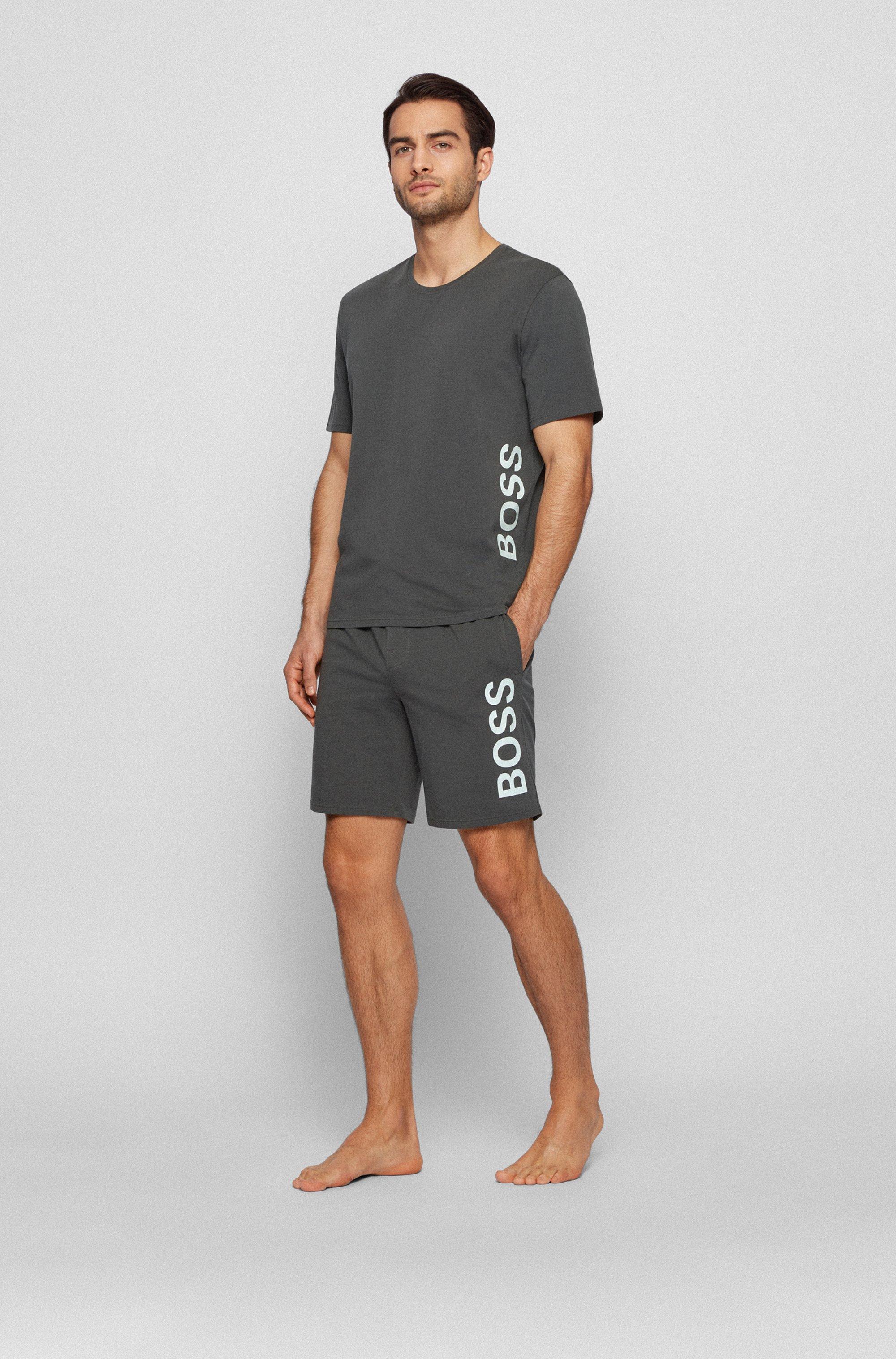 Pyjama-Shorts aus Stretch-Baumwolle mit Logo-Print
