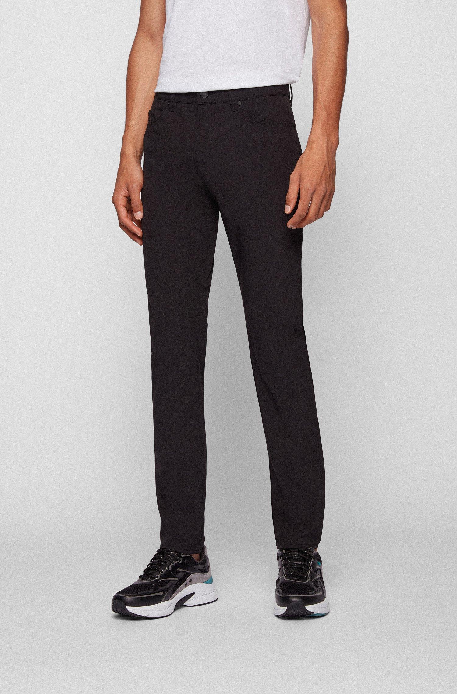 Slim-fit jeans in water-repellent super-stretch fabric, Black