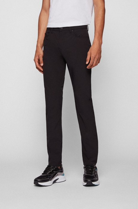 Jean Slim Fit en tissu super stretch déperlant, Noir