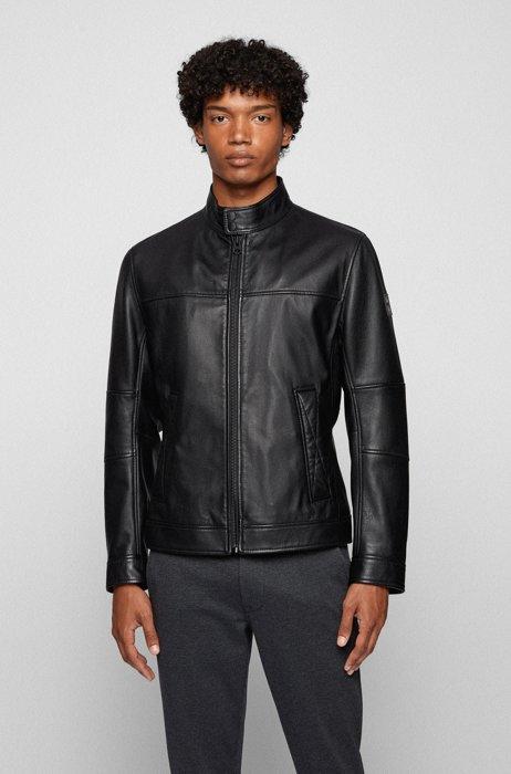 Slim-fit biker jacket in hand-treated leather, Black