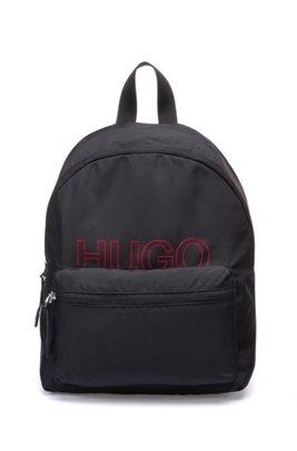 Packable backpack in recycled fabric with printed logo, Black