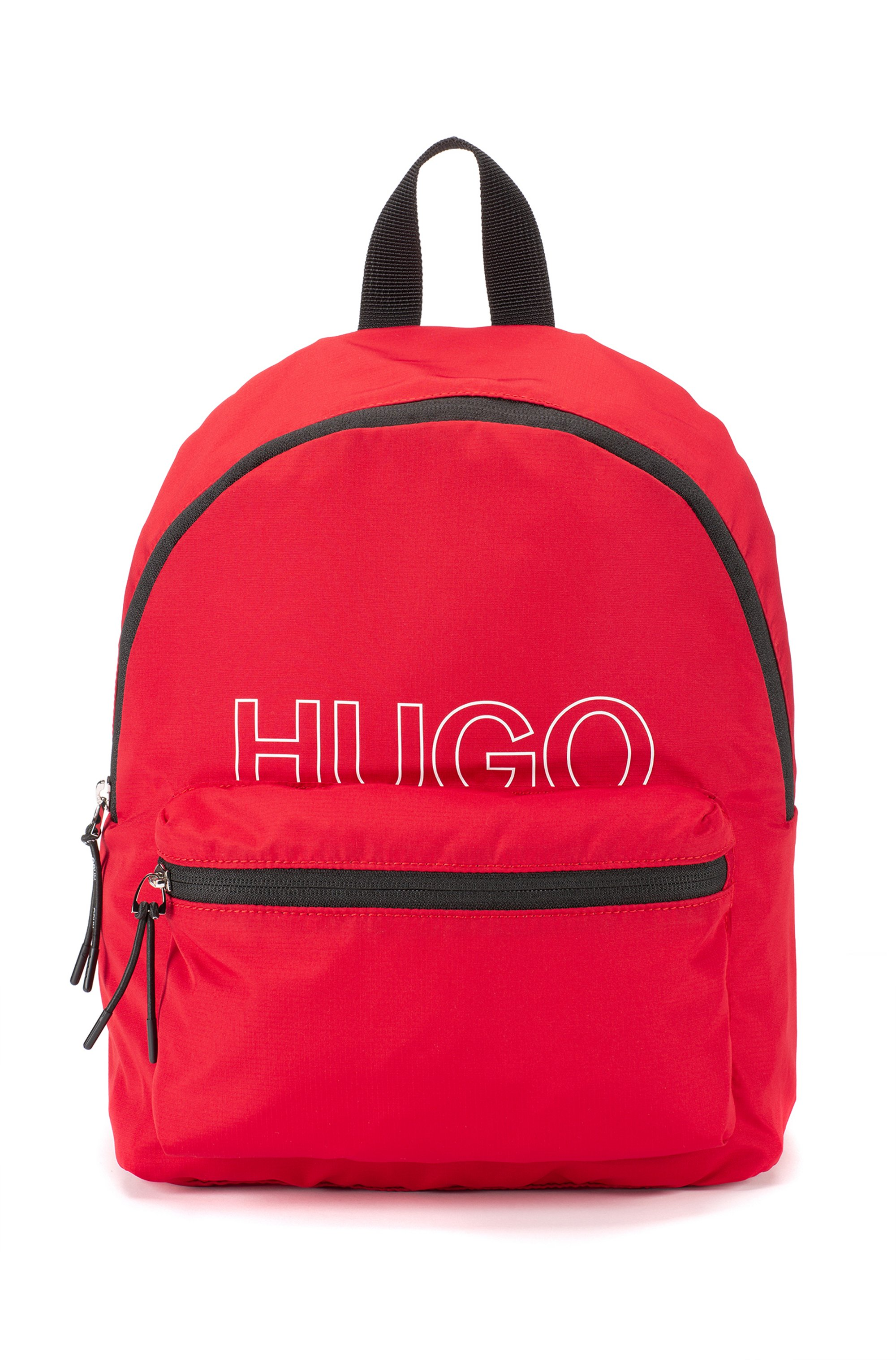Packable backpack in recycled fabric with printed logo, Red