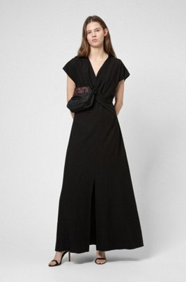 Crepe maxi dress with knotted front, Black