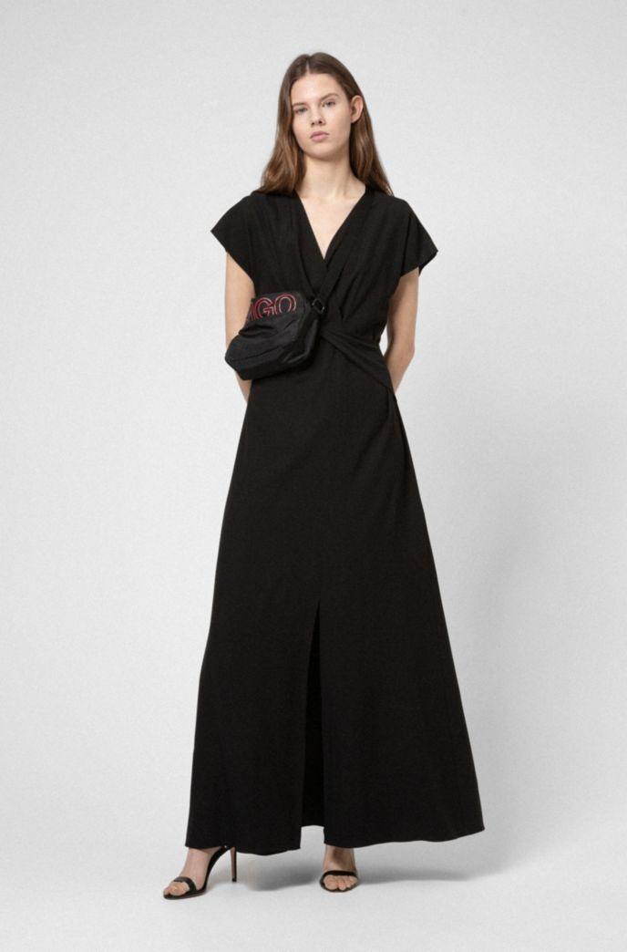 Crepe maxi dress with knotted front