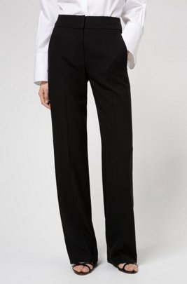 Relaxed-fit trousers in crepe fabric with lustrous piping, Black