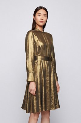 Belted shirt dress in lightweight crepe with laminated finish, Dark Yellow