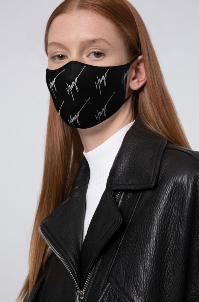 Face mask with handwritten-logo print