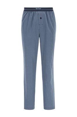 Gestreifte Pyjama-Hose aus leichter Baumwoll-Popeline, Dunkelblau