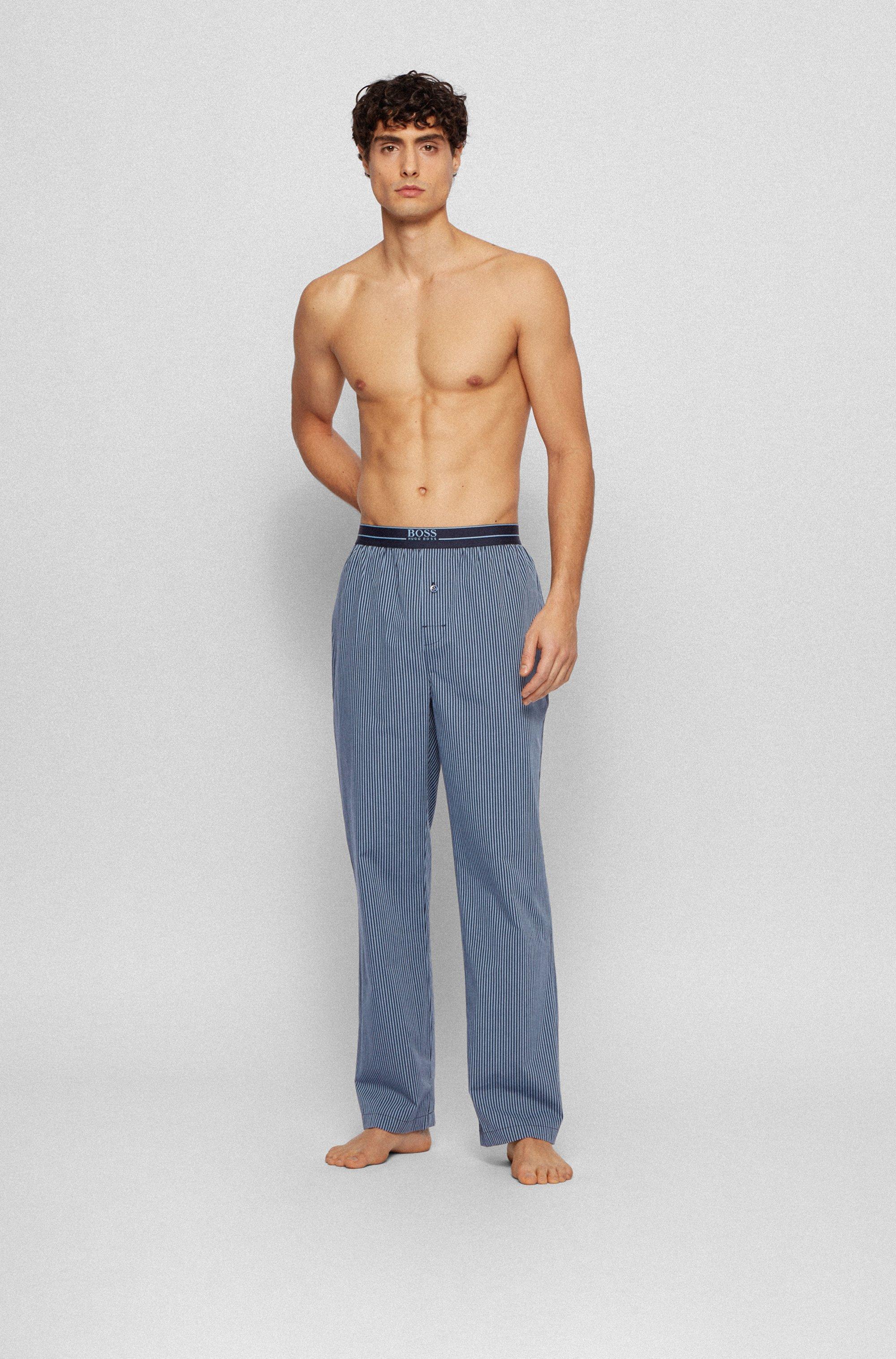 Gestreifte Pyjama-Hose aus leichter Baumwoll-Popeline
