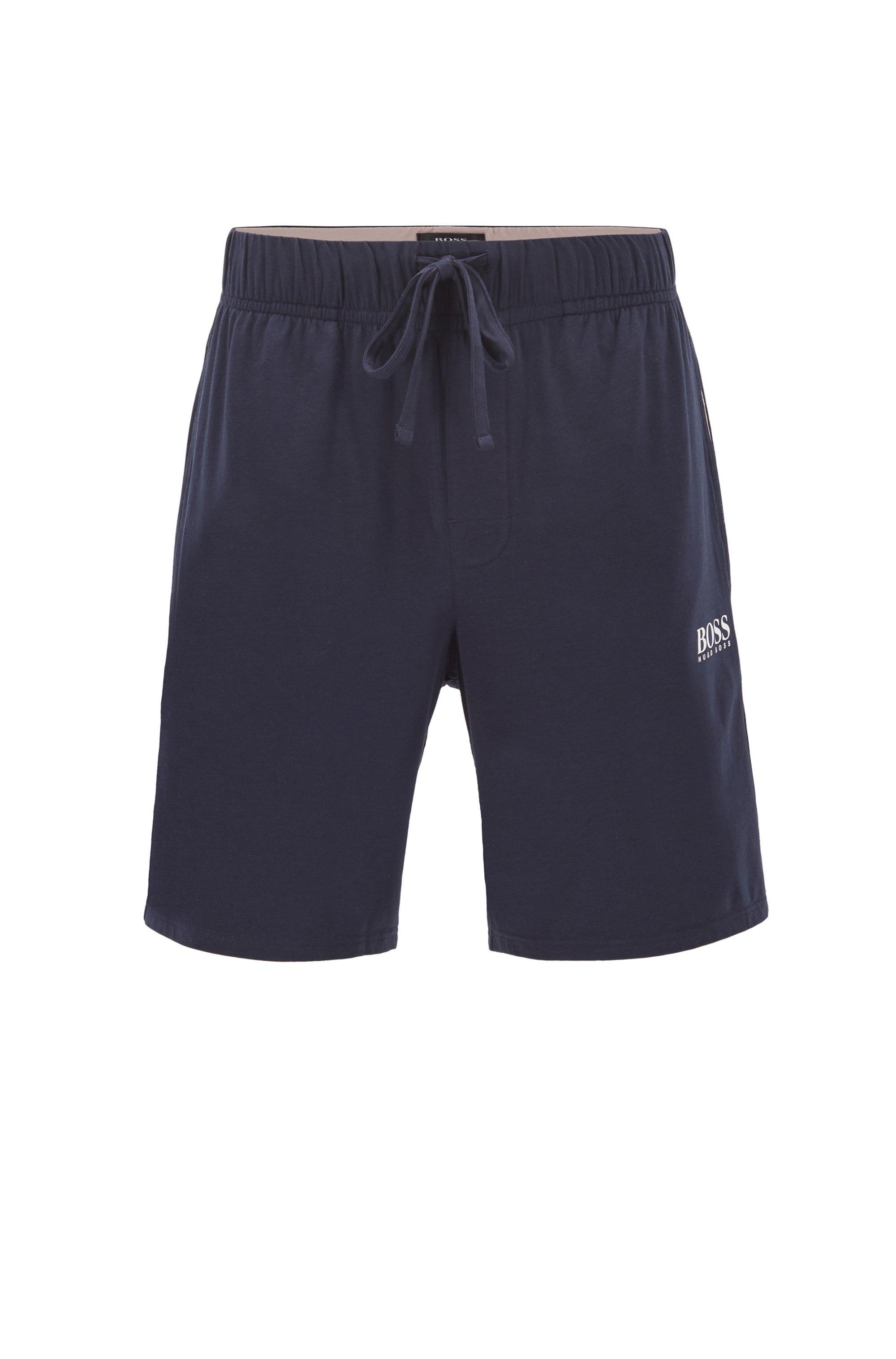 Pyjama-Shorts aus Pima-Baumwoll-Mix mit Logo, Dunkelblau
