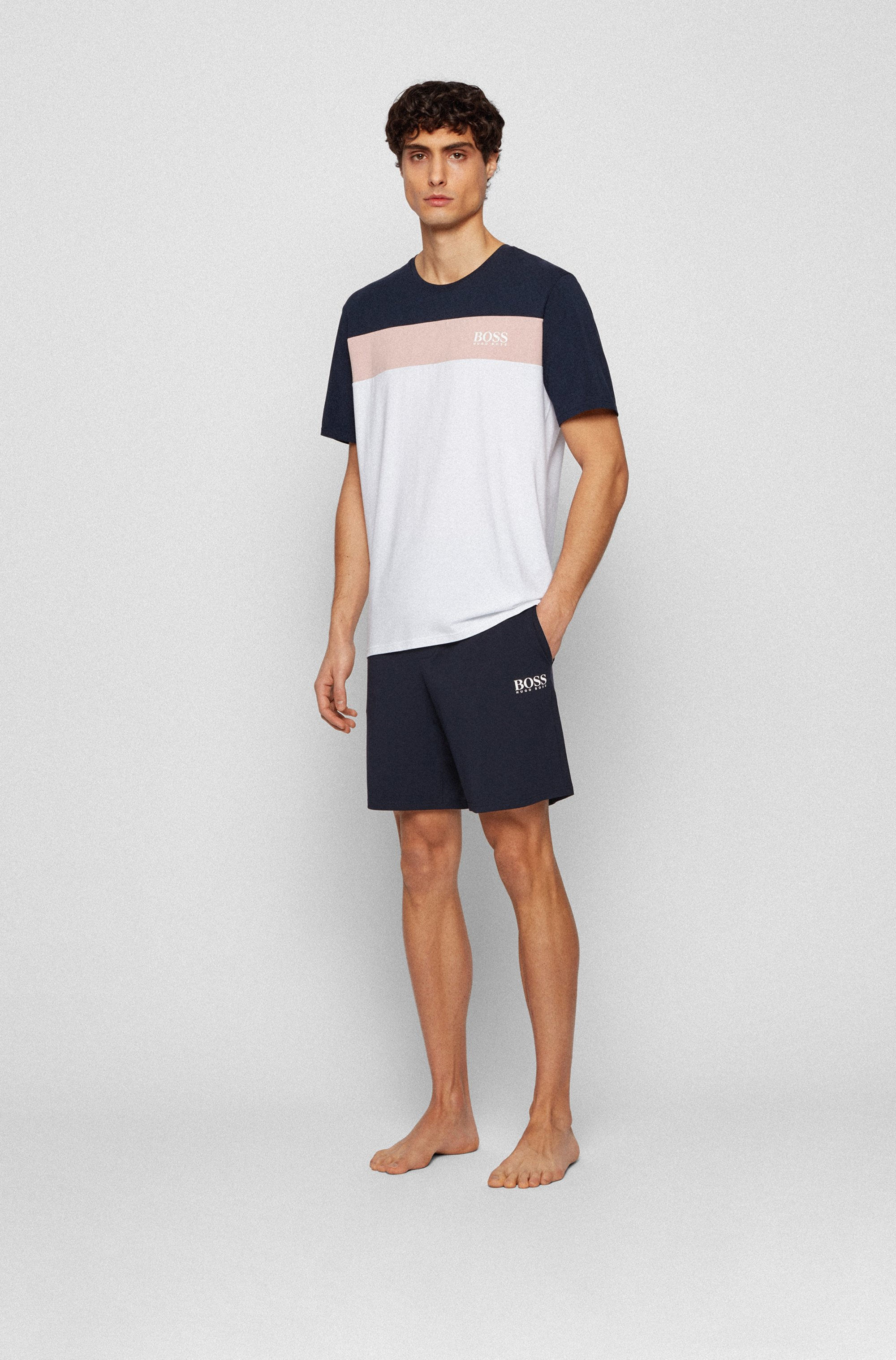 Pyjama-Shorts aus Pima-Baumwoll-Mix mit Logo