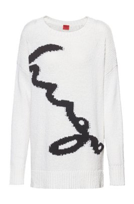 Oversized-fit sweater with logo intarsia, White