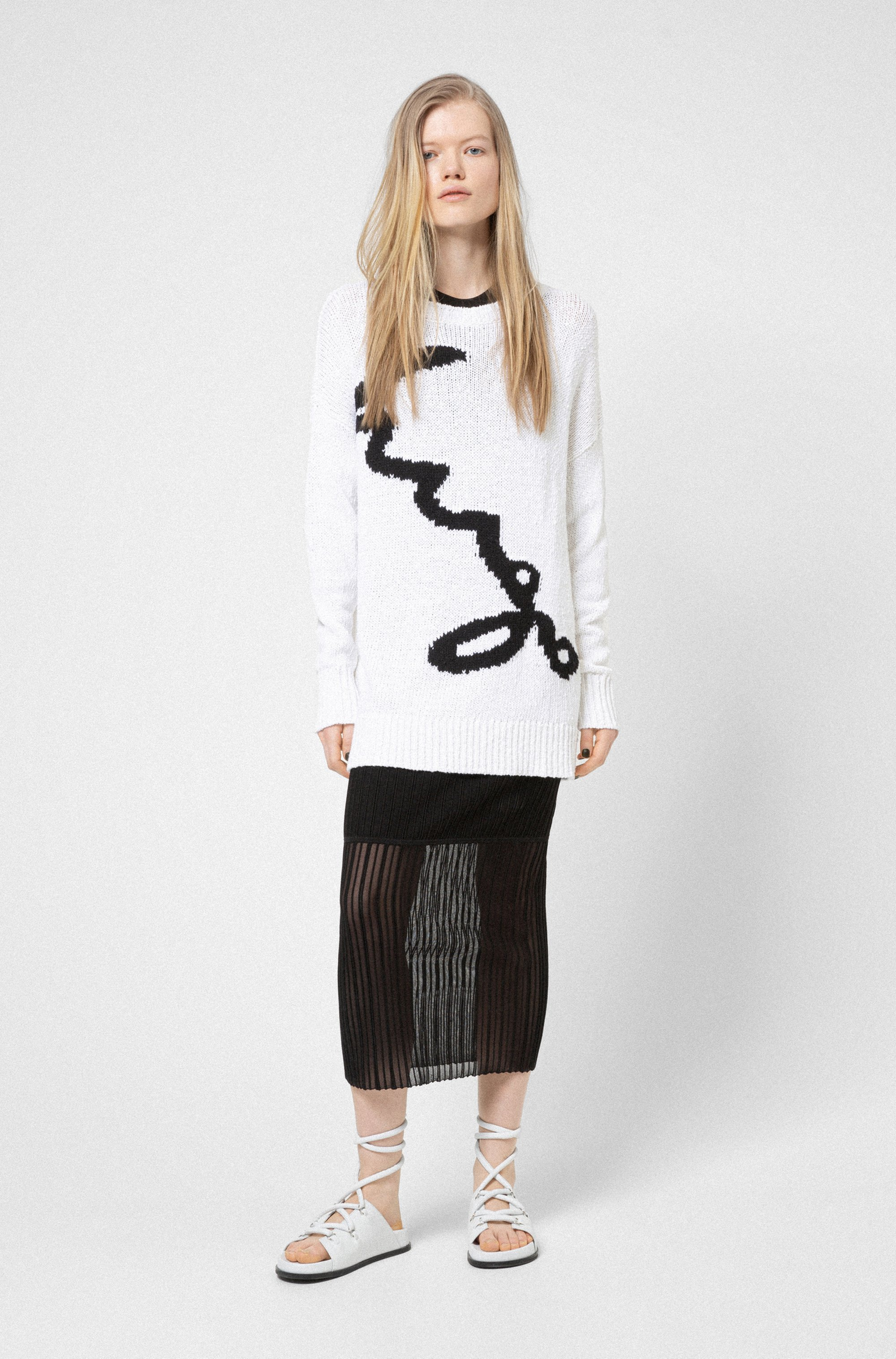 Oversized-fit sweater with logo intarsia