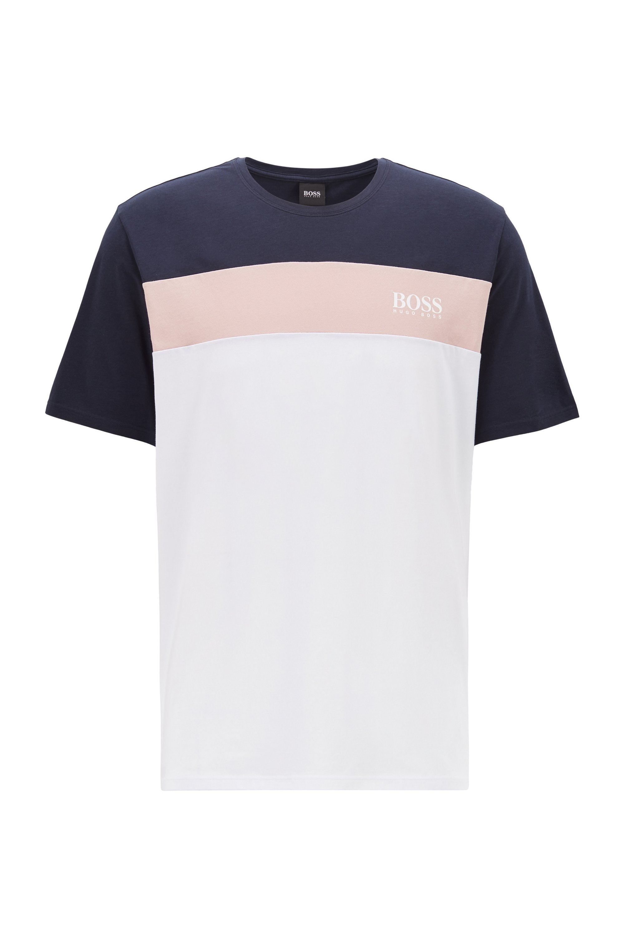 Pyjama-Shirt aus Pima-Baumwoll-Mix im Colour-Block-Design, Dunkelblau