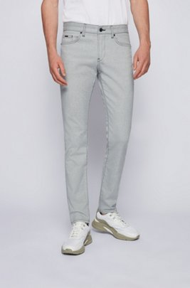 Slim-fit jeans in structured stretch denim, Light Grey