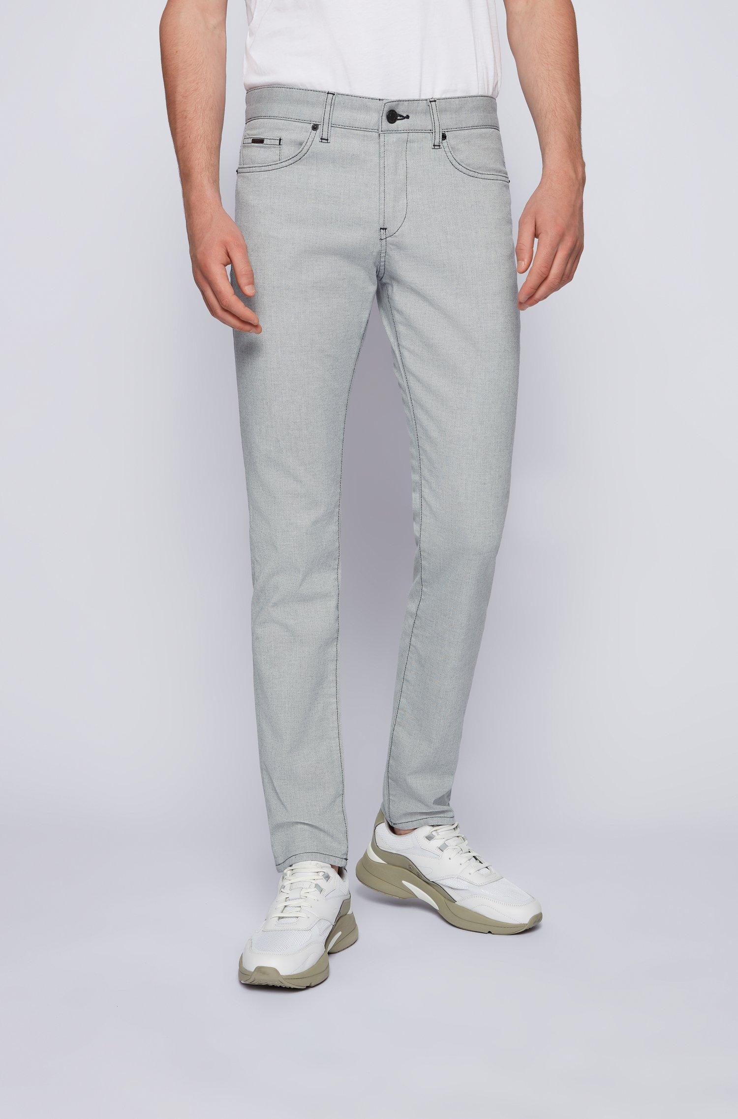 Slim-Fit Jeans aus strukturiertem Stretch-Denim, Hellgrau