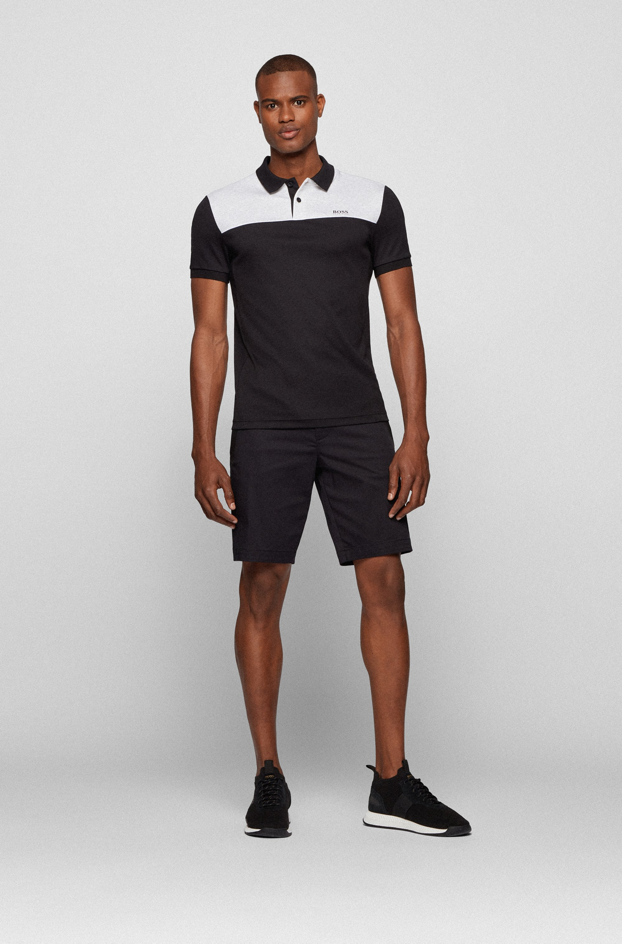 Slim-fit polo shirt in cotton with colour-blocking