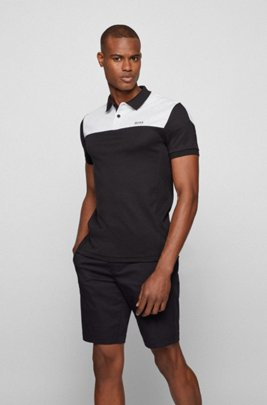 Slim-fit polo shirt in cotton with colour-blocking, Black