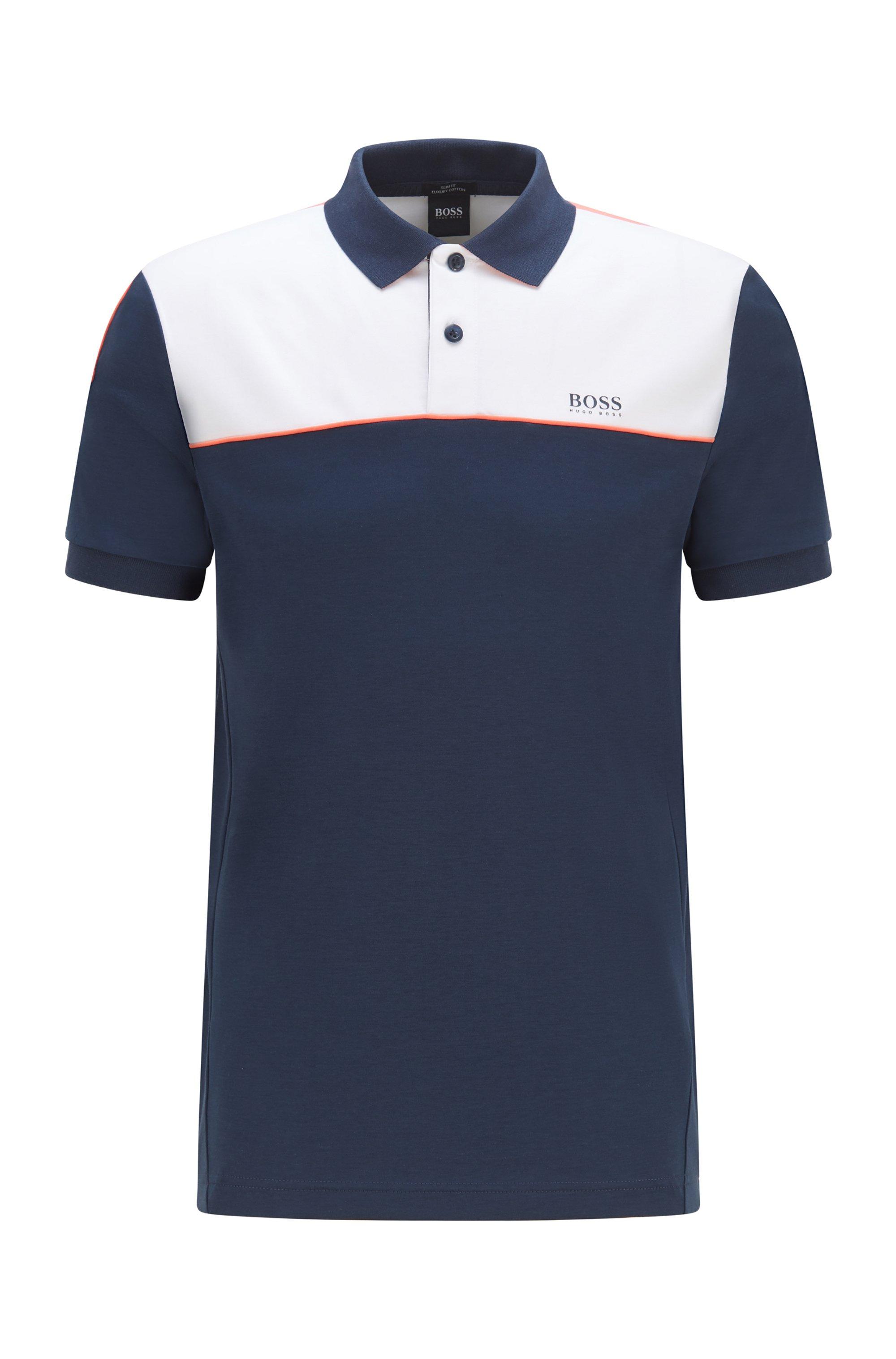 Polo Slim Fit color block en coton, Bleu foncé