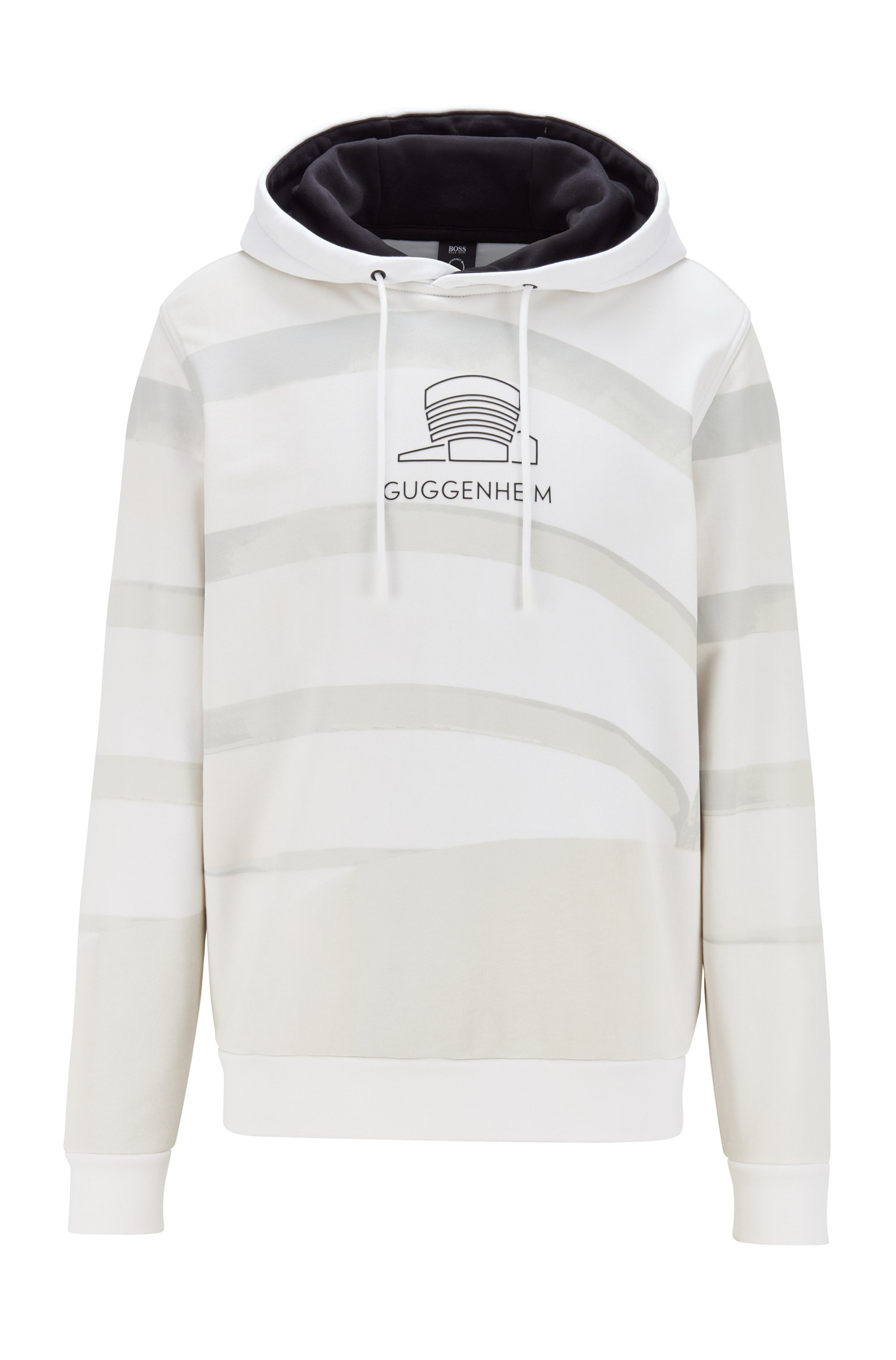 Unisex relaxed-fit hooded sweatshirt with Guggenheim photo print, White