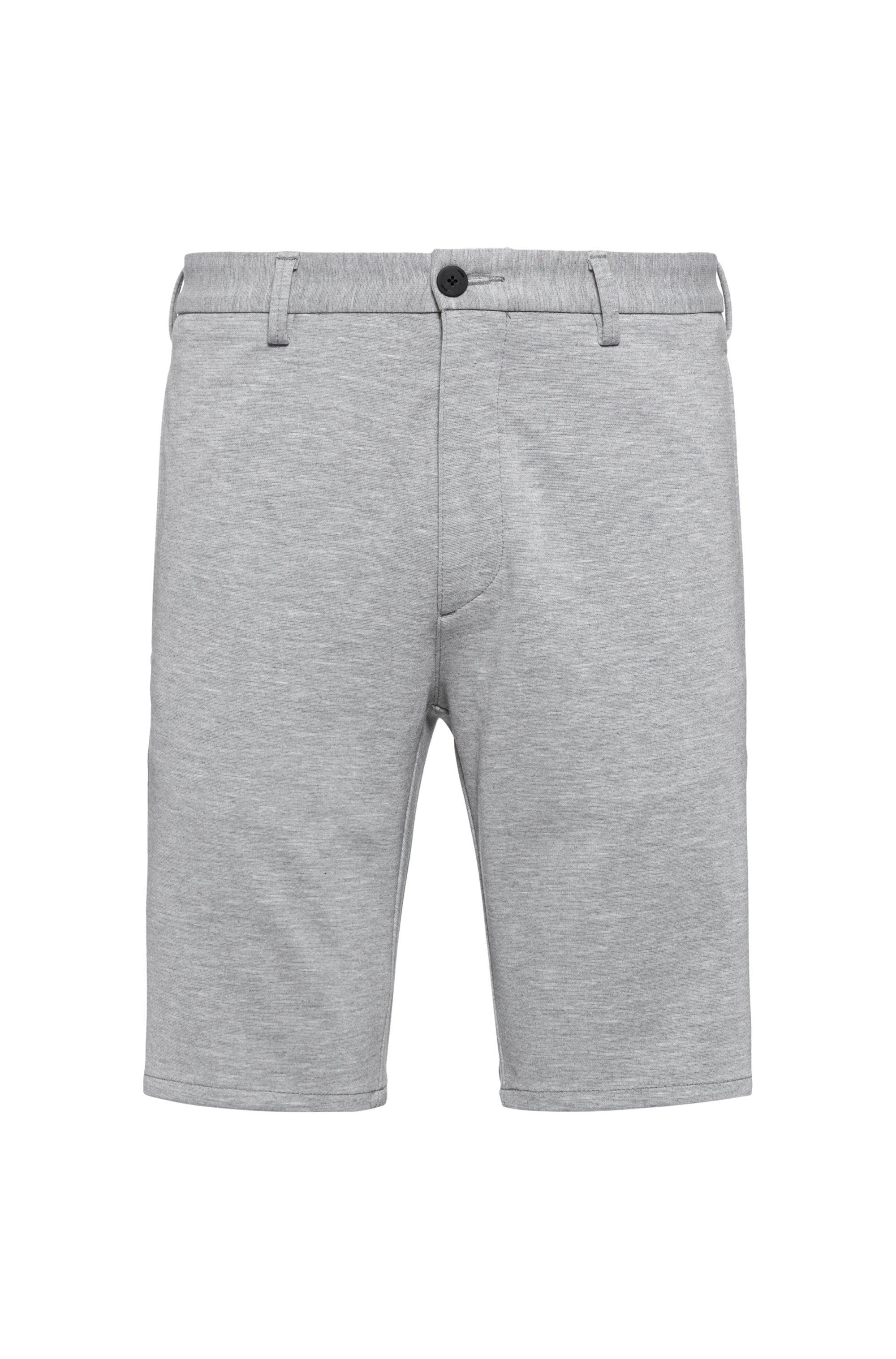 Melierte Slim-Fit Shorts aus Stretch-Jersey, Hellgrau