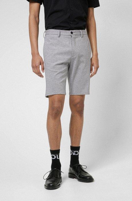 Slim-fit shorts in melange stretch jersey, Light Grey