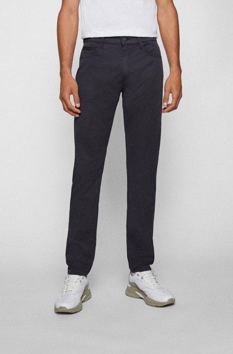 Tapered-fit jeans in een gabardine van papierachtige stretchkatoen, Donkerblauw