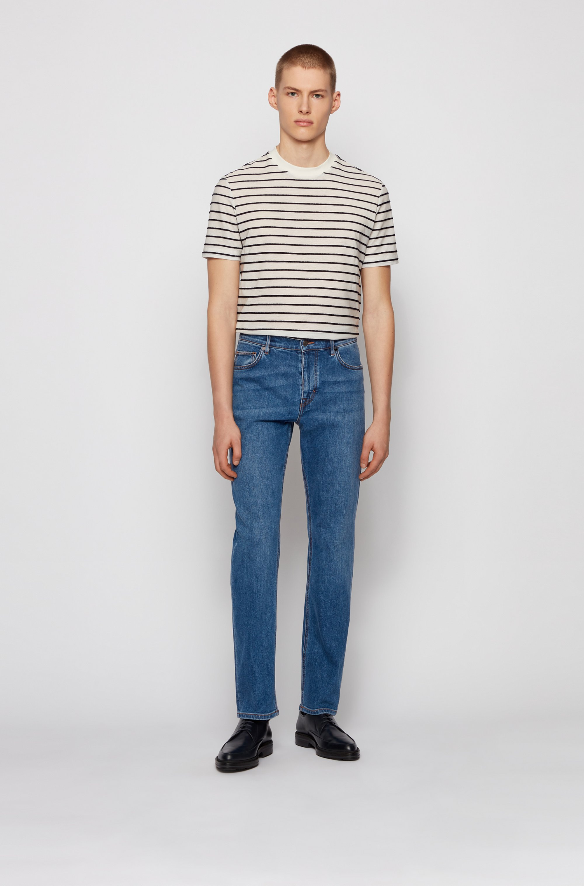 Relaxed-fit jeans in dark-blue comfort-stretch denim