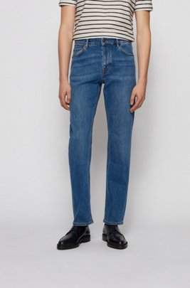 Relaxed-fit jeans in dark-blue comfort-stretch denim, Blue