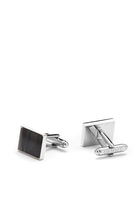 Rechteckige Manschettenknöpfe aus Messing mit halbtransparentem Emaille-Einsatz, Schwarz