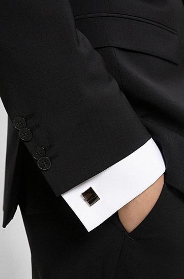 半透明珐琅嵌饰矩形黄铜袖扣,  001_Black
