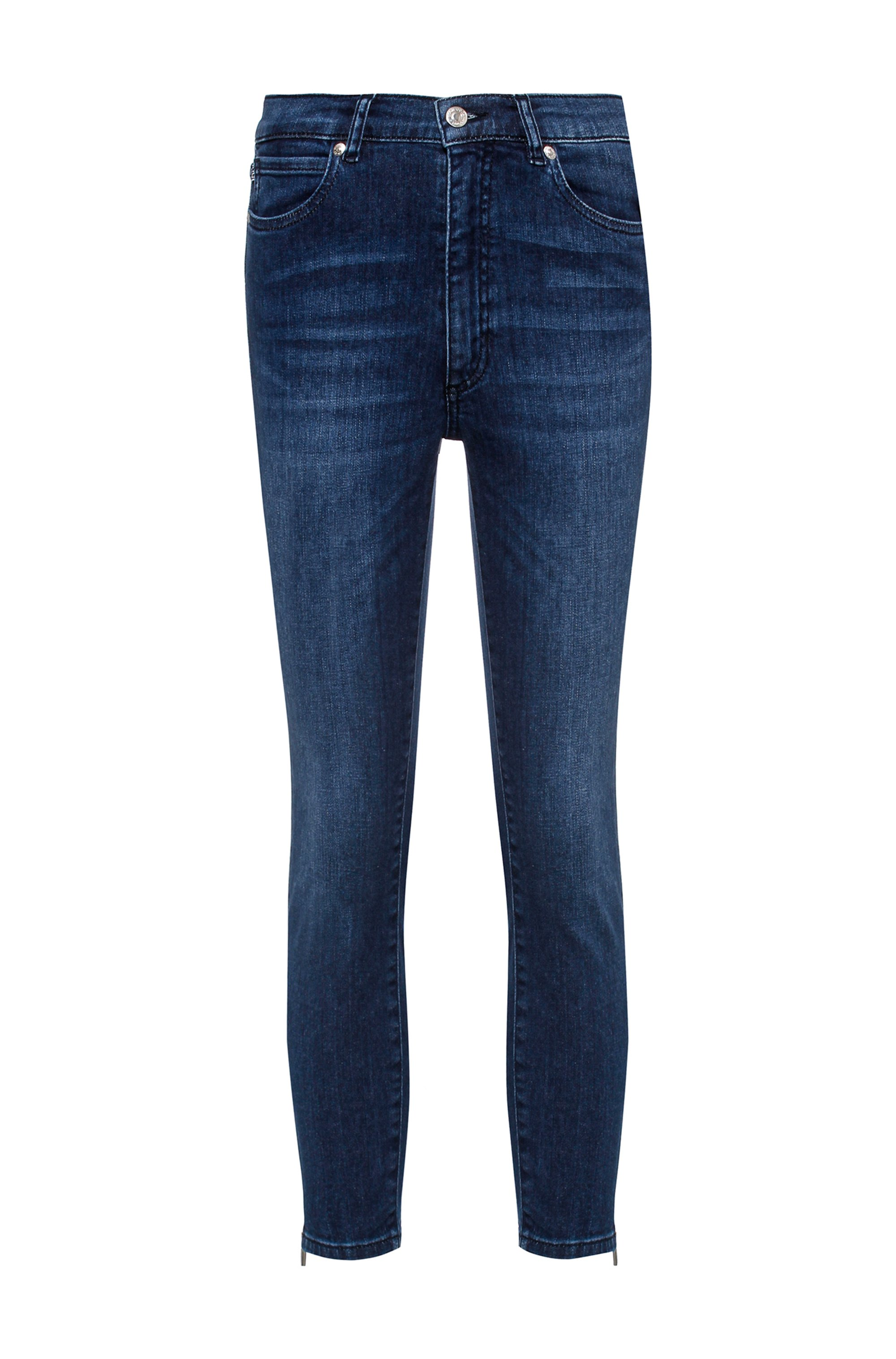 LOU Skinny-Fit Jeans aus Stretch-Denim mit Reißverschlüssen am Saum, Blau