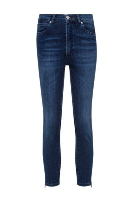 LOU skinny-fit jeans in stretch denim with zipped hems, Blue