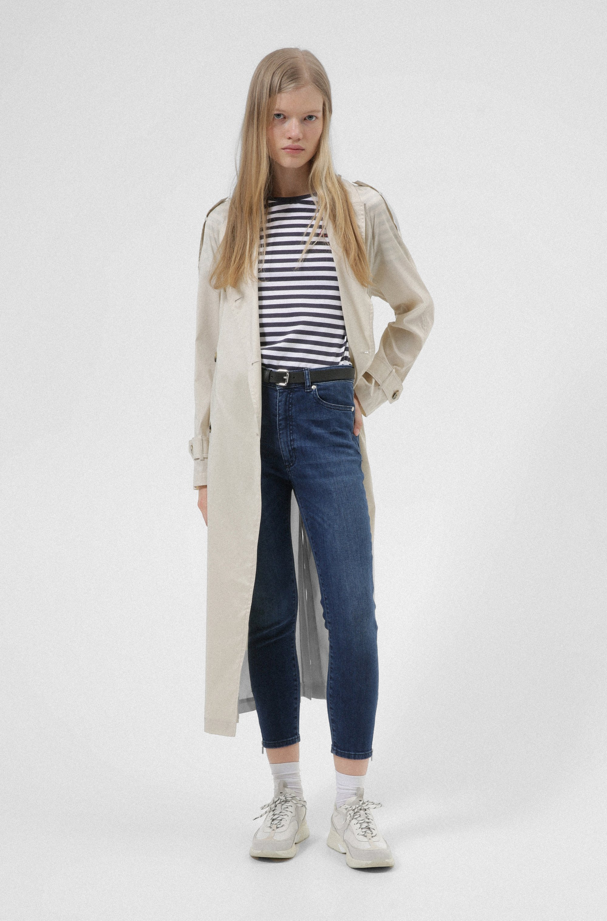 LOU skinny-fit jeans in stretch denim with zipped hems