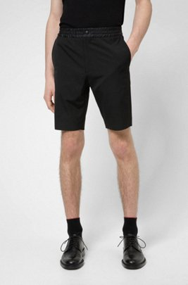 Slim-fit chino shorts with contrast waistband, Black