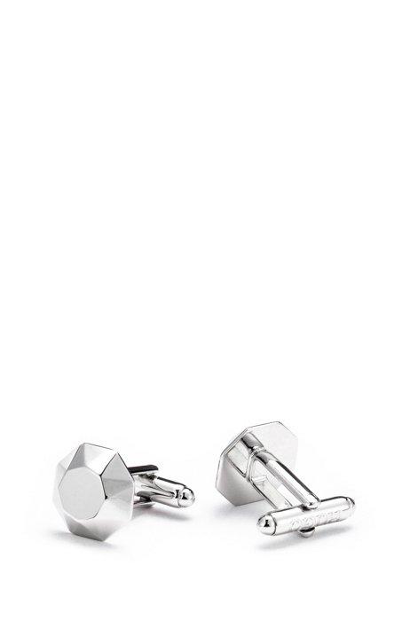 Hexagonal cufflinks in faceted brass, Silver