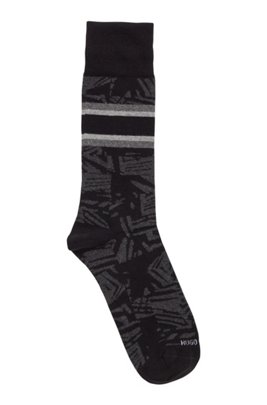 Regular-length patterned socks in an organic-cotton blend, Black
