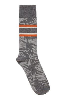 Regular-length patterned socks in an organic-cotton blend, Grey