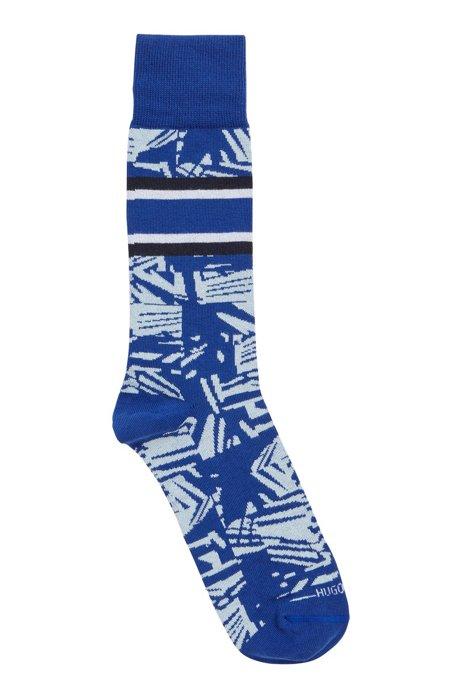 Regular-length patterned socks in an organic-cotton blend, Light Blue