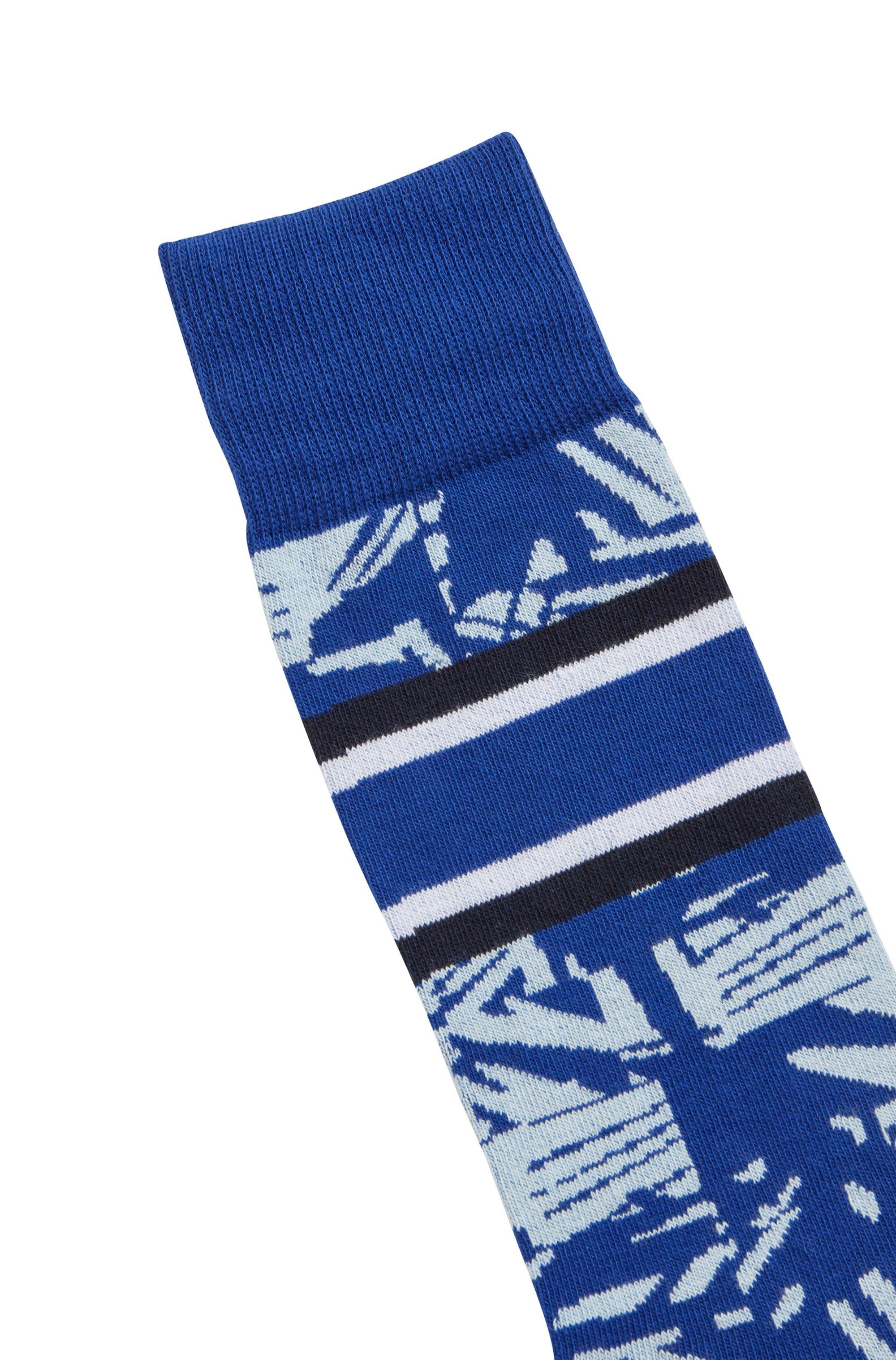 Regular-length patterned socks in an organic-cotton blend
