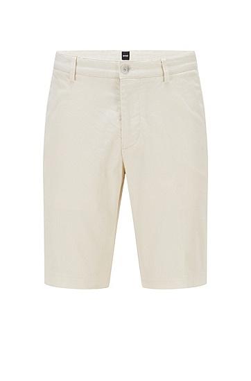 结构纹理弹力棉修身短裤,  118_Open White
