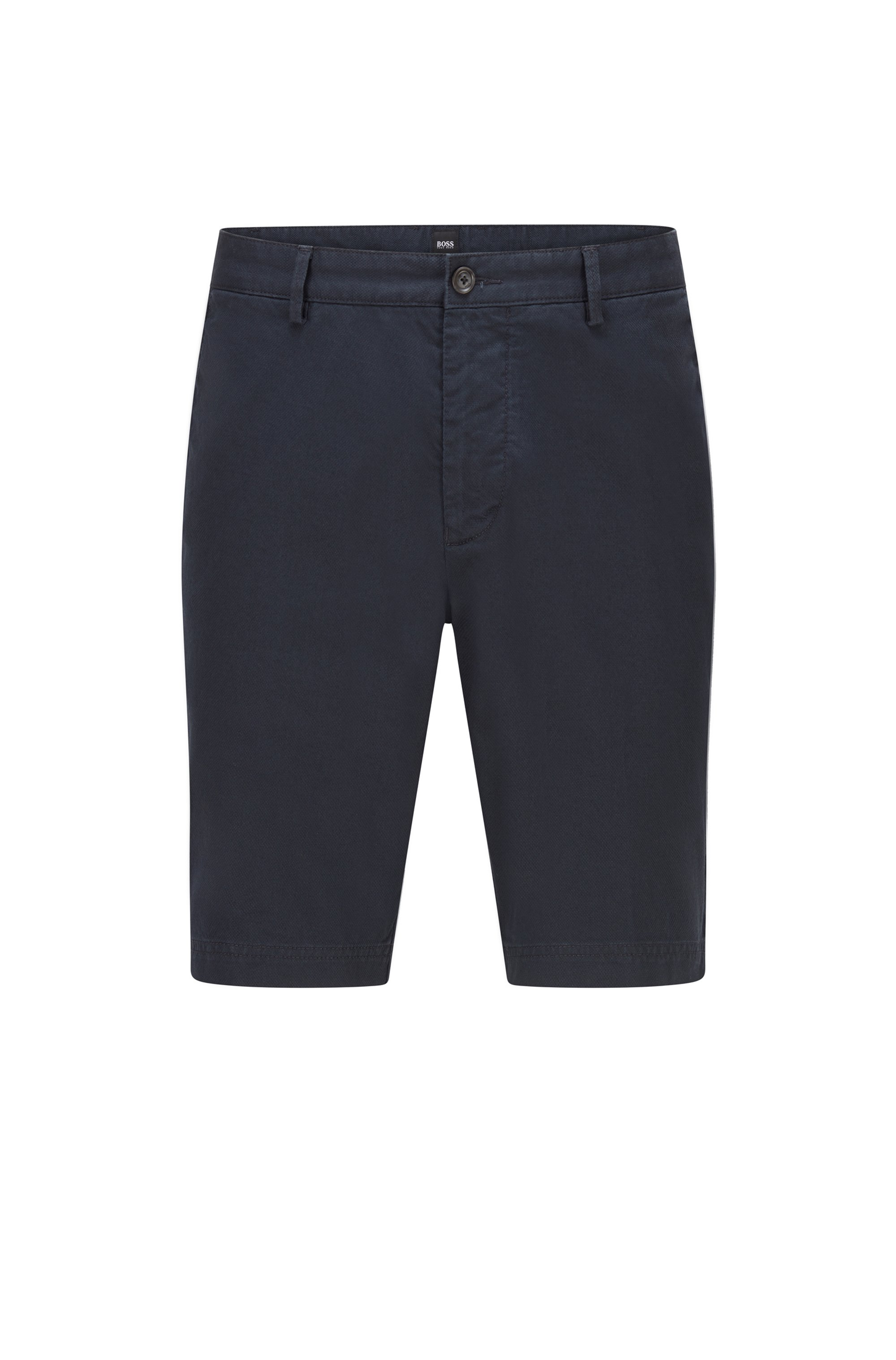 Slim-fit shorts in structured stretch cotton, Dark Blue