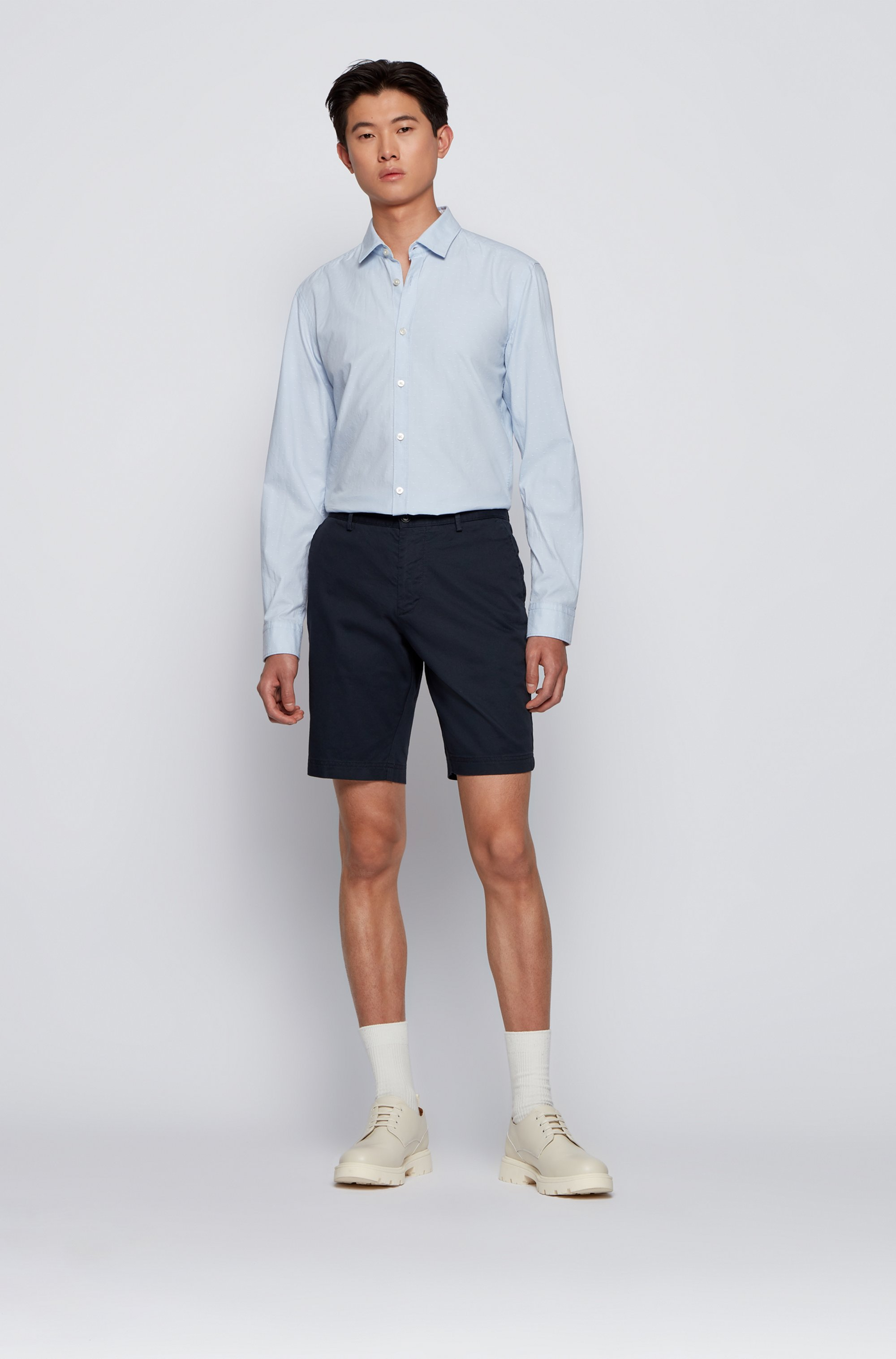 Slim-fit shorts in structured stretch cotton