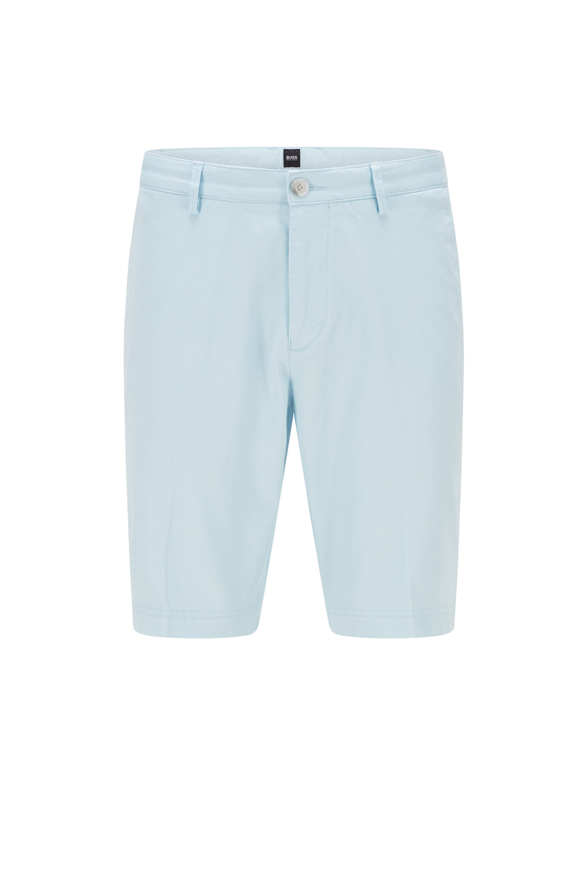 Slim-fit shorts in structured stretch cotton, Light Blue