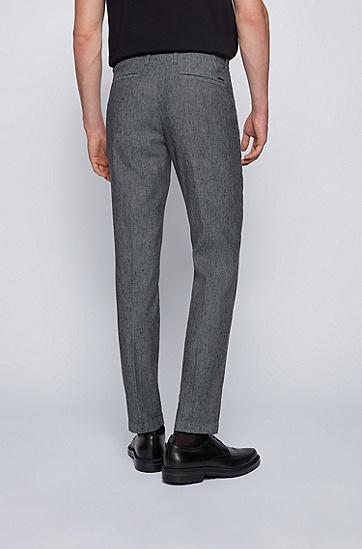 亚麻棉质混纺弹力修身休闲裤,  402_Dark Blue