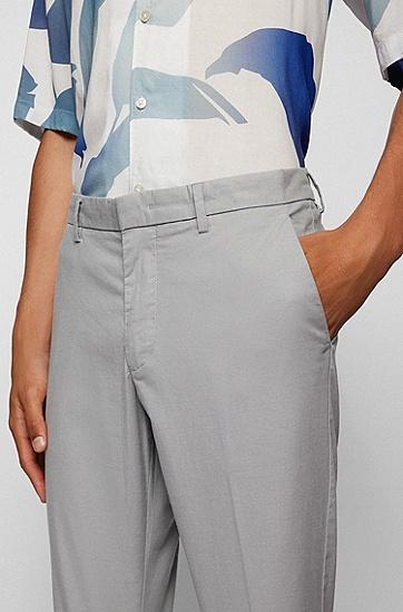 饰以微型图案的弹力棉修身休闲裤,  050_Light/Pastel Grey