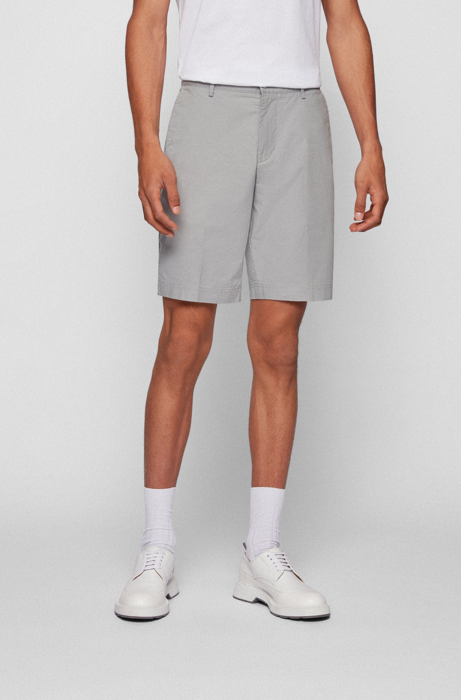 Slim-fit shorts in micro-patterned stretch cotton, Light Grey