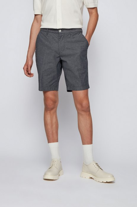 Slim-fit shorts in micro-patterned stretch cotton, Dark Blue