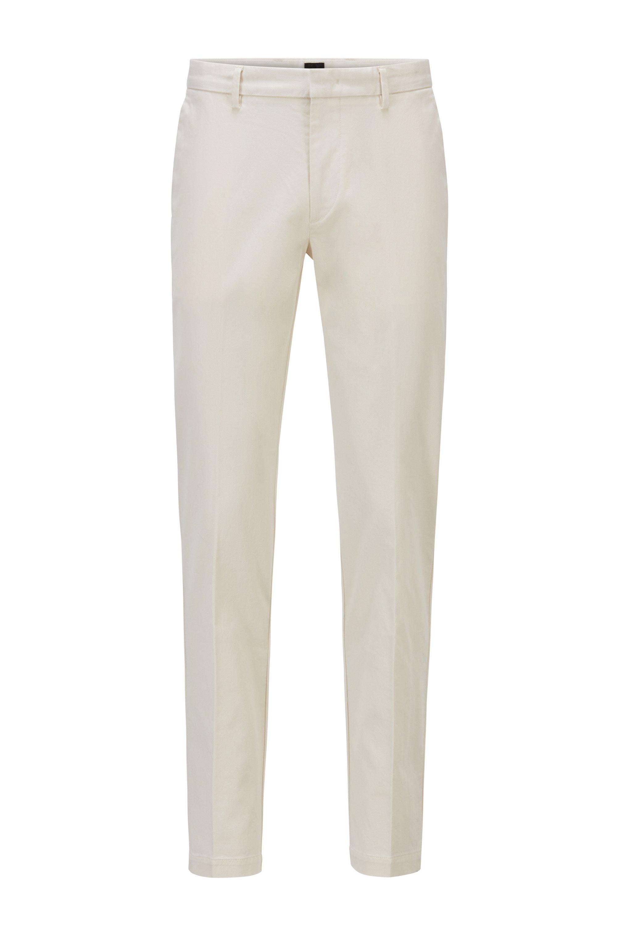 Slim-Fit Chino aus strukturierter Stretch-Baumwolle, Weiß